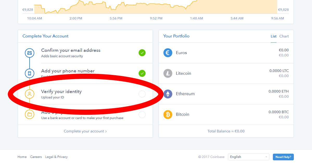 CoinBase verifikácia identity